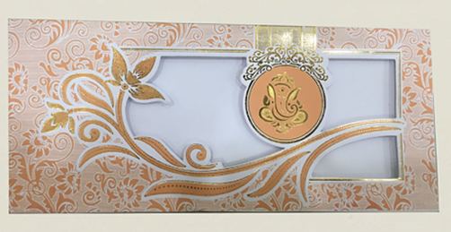Desi Hindu Indian Wedding Cards A35 – Orange (Ganesh)