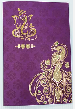 H14 Purple Hindu Wedding Cards USA